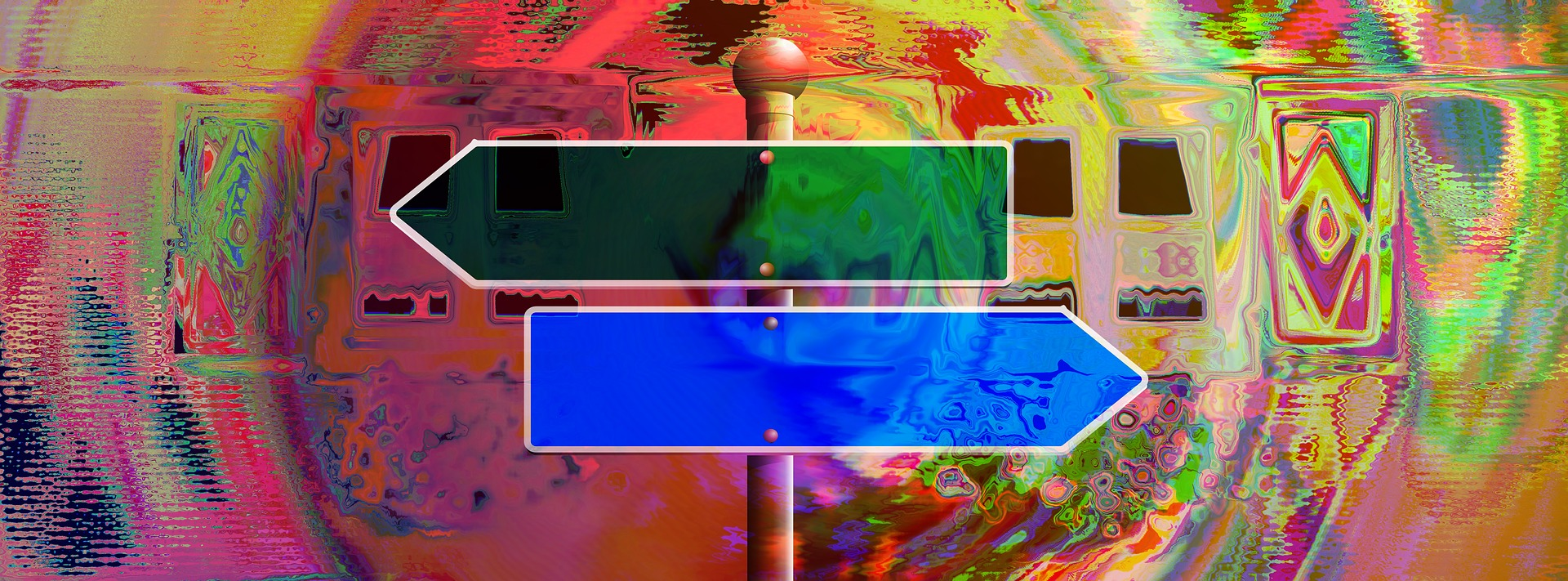 Colorful road sign banner photo for about page